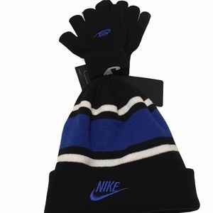 Nike Youth Hat/Gloves Set - Black, Blue and White